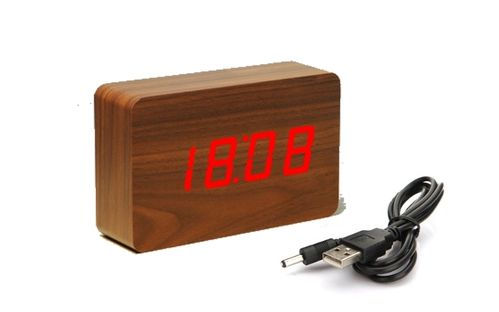 Clap On  WOOD CUBE 2 Braun brown mit roter LED
