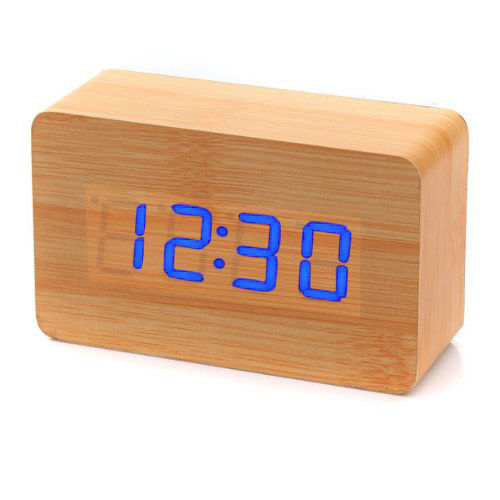 Clap On  WOOD CUBE 2 Braun brown mit blauer LED