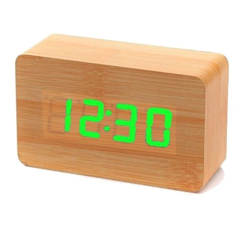 Clap On  WOOD CUBE 2 Braun brown mit grüner LED