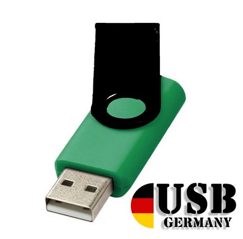1GB USB Flash Drive Twister Dark Green + Black