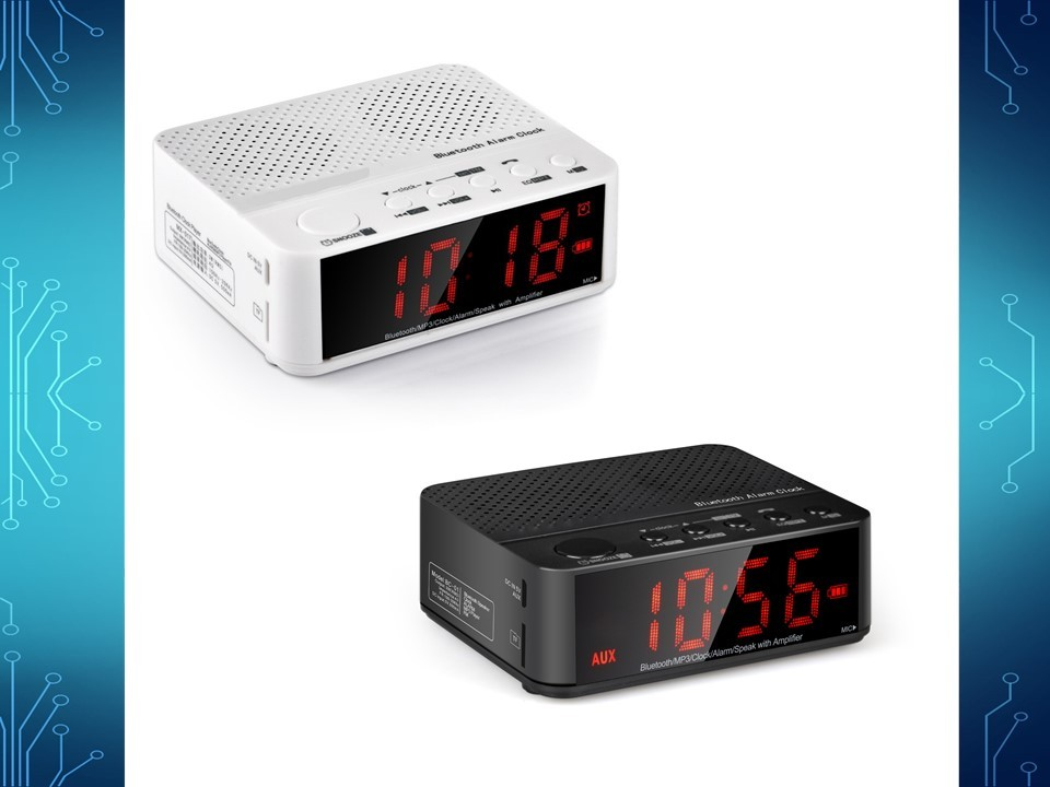 radio alarm clock bluetooth hands free communication sd slot battery powered ebay. Black Bedroom Furniture Sets. Home Design Ideas