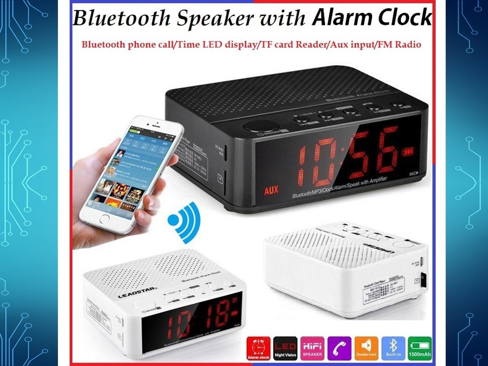 radio wecker bluetooth freispechfunktion sd slot akkubetrieb alarmclock ebay. Black Bedroom Furniture Sets. Home Design Ideas
