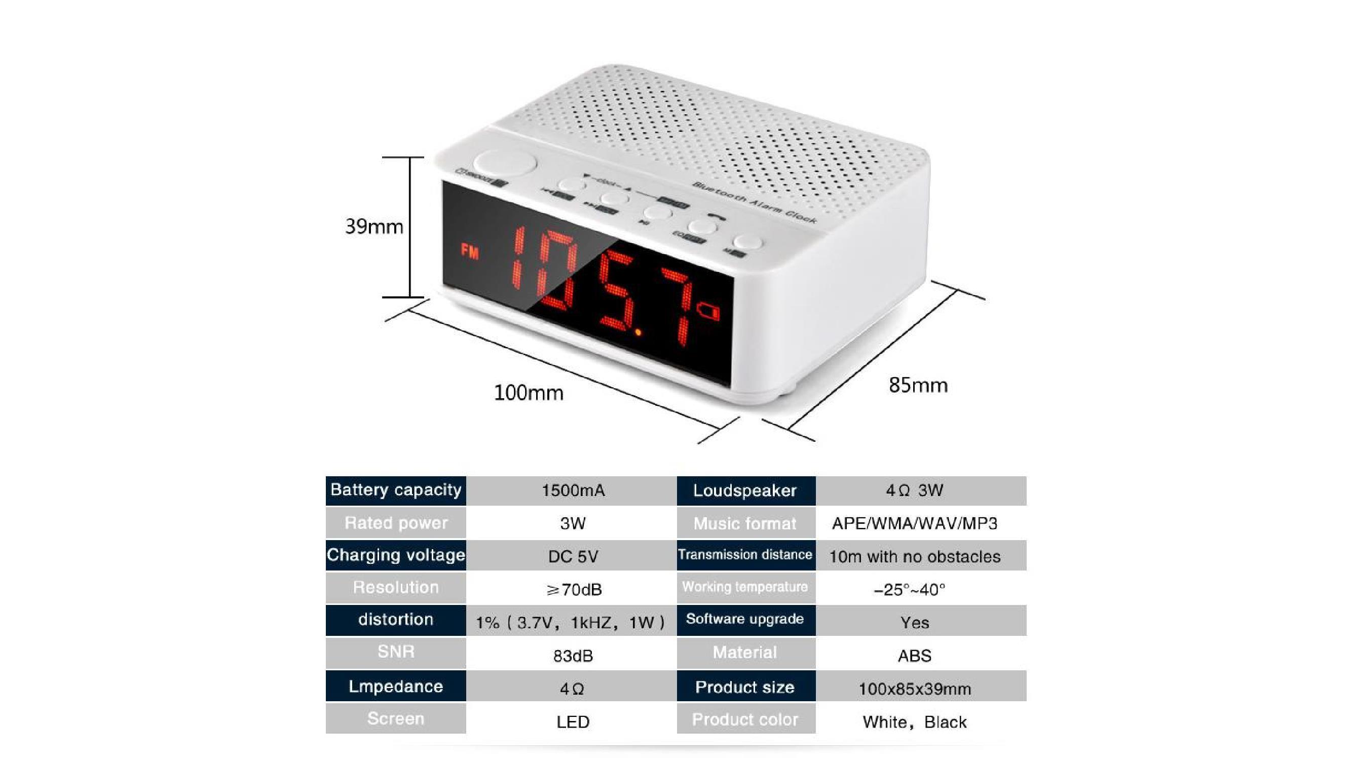 bluetooth speaker radio alarm clock hands free function battery powered black ebay. Black Bedroom Furniture Sets. Home Design Ideas
